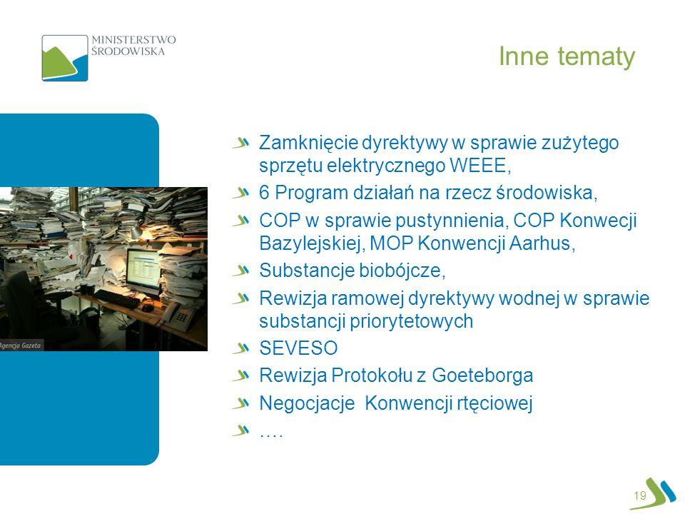 Inne tematy Zamknięcie dyrektywy w sprawie zużytego sprzętu elektrycznego WEEE, 6 Program działań na rzecz środowiska,