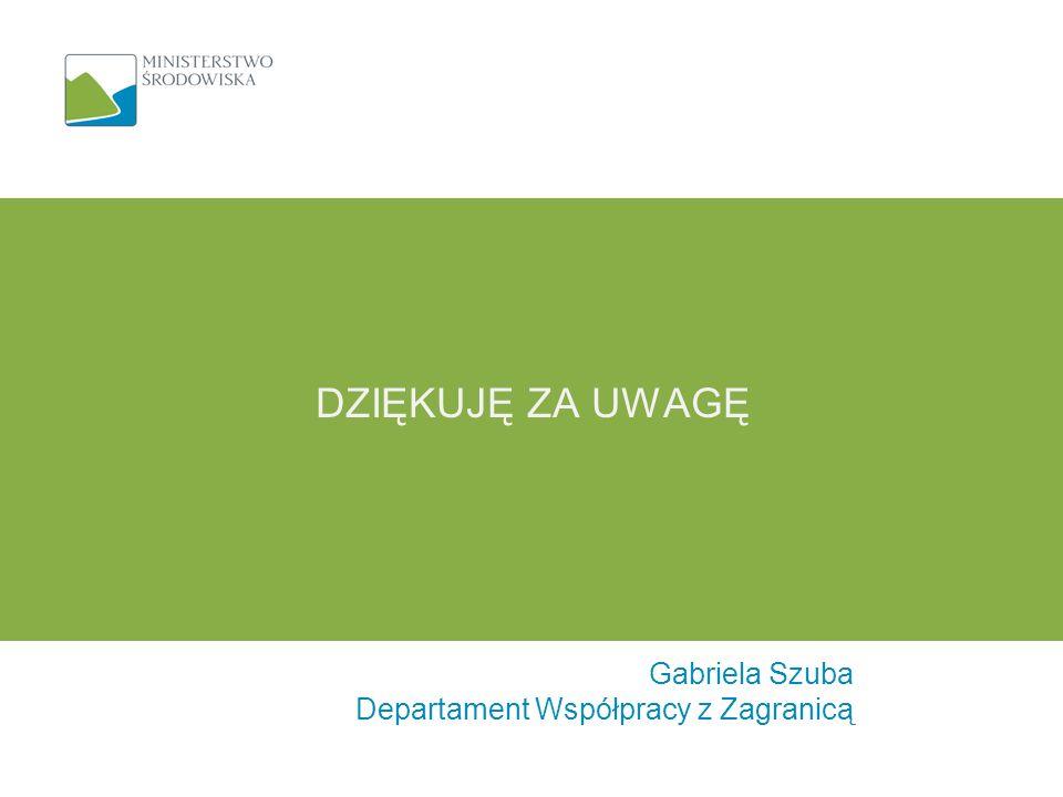 DZIĘKUJĘ ZA UWAGĘ Gabriela Szuba Departament Współpracy z Zagranicą