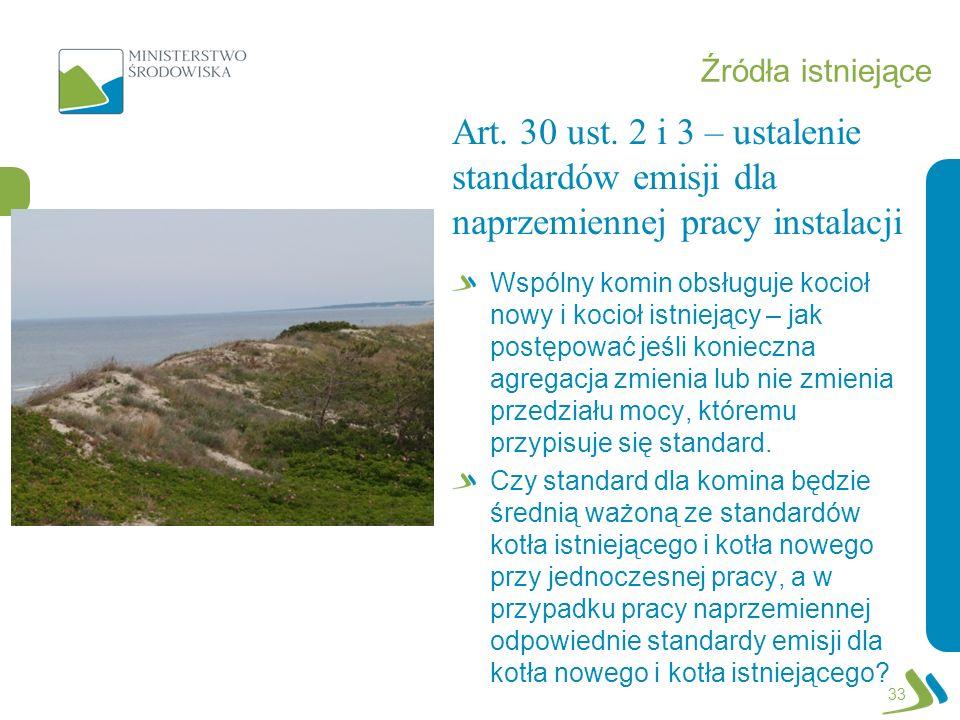 Źródła istniejące Art. 30 ust. 2 i 3 – ustalenie standardów emisji dla naprzemiennej pracy instalacji.