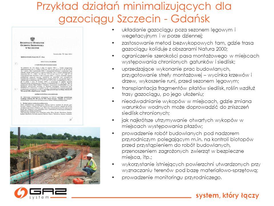 Przykład działań minimalizujących dla gazociągu Szczecin - Gdańsk