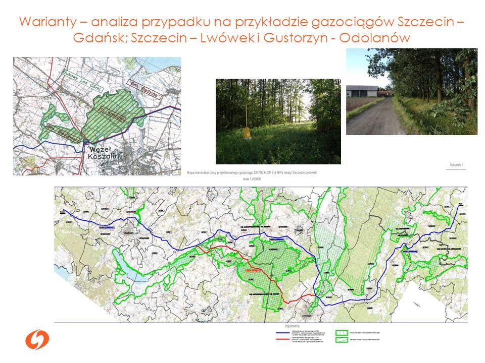Warianty – analiza przypadku na przykładzie gazociągów Szczecin – Gdańsk; Szczecin – Lwówek i Gustorzyn - Odolanów