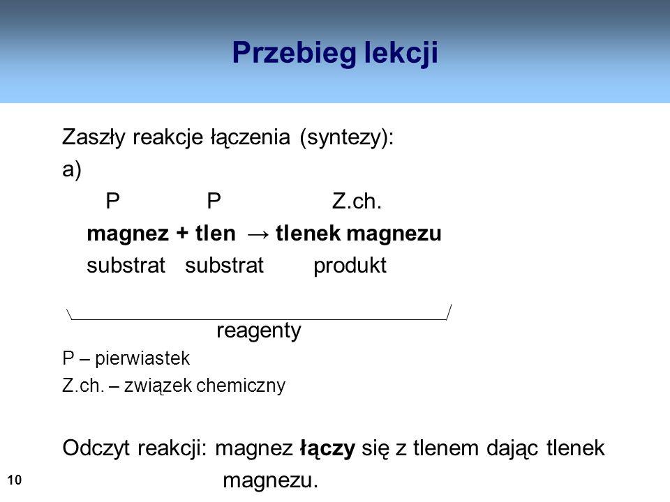 Przebieg lekcji Zaszły reakcje łączenia (syntezy): a) P P Z.ch.
