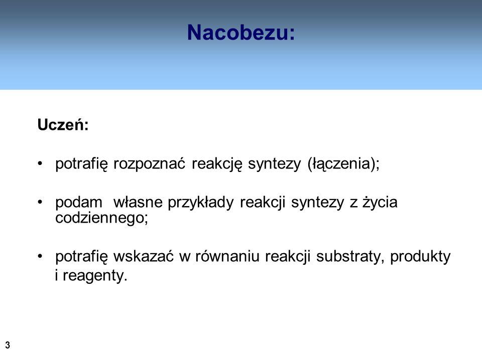 Nacobezu: Uczeń: potrafię rozpoznać reakcję syntezy (łączenia);