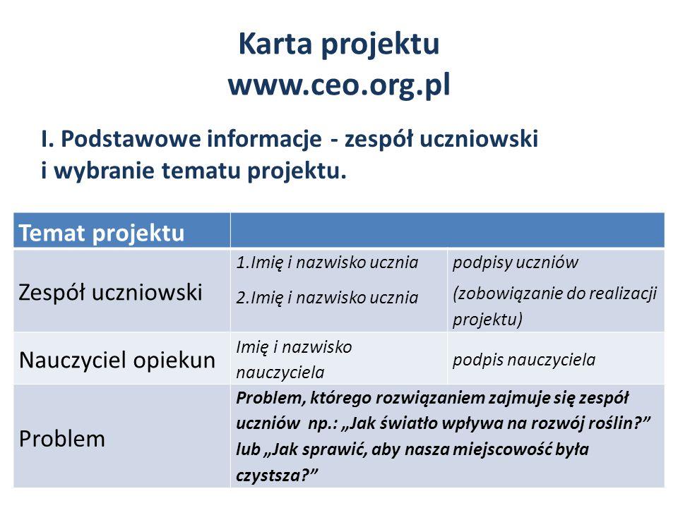 Karta projektu www.ceo.org.pl