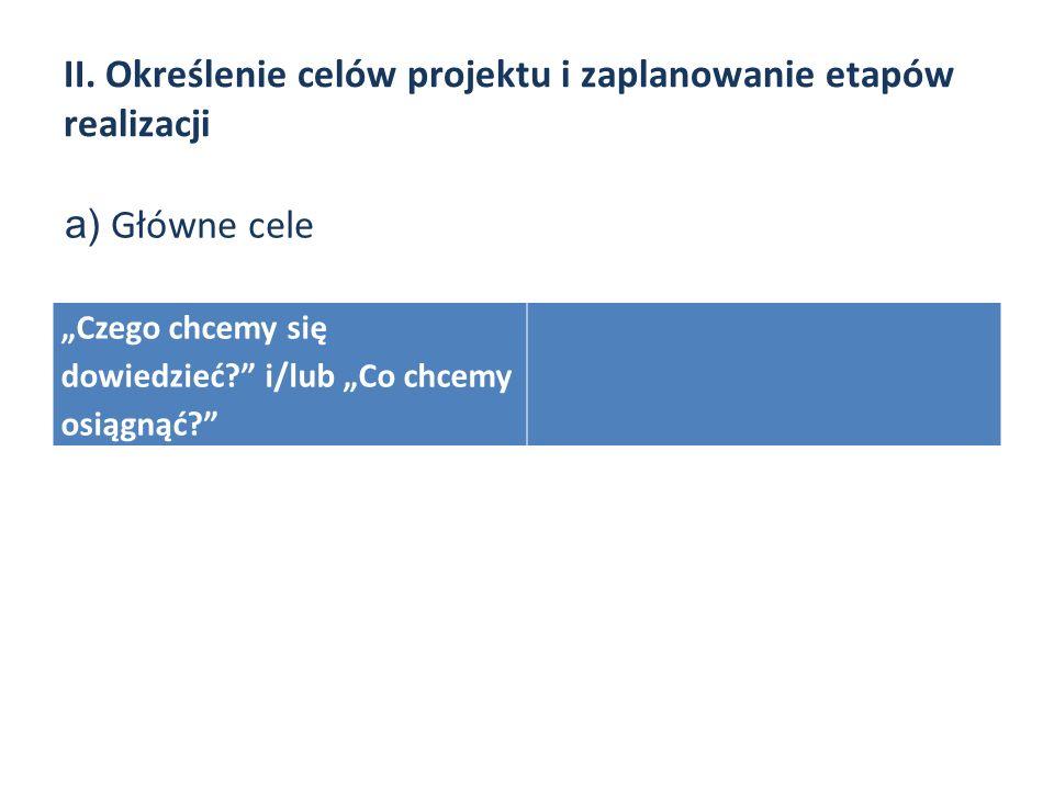 II. Określenie celów projektu i zaplanowanie etapów realizacji