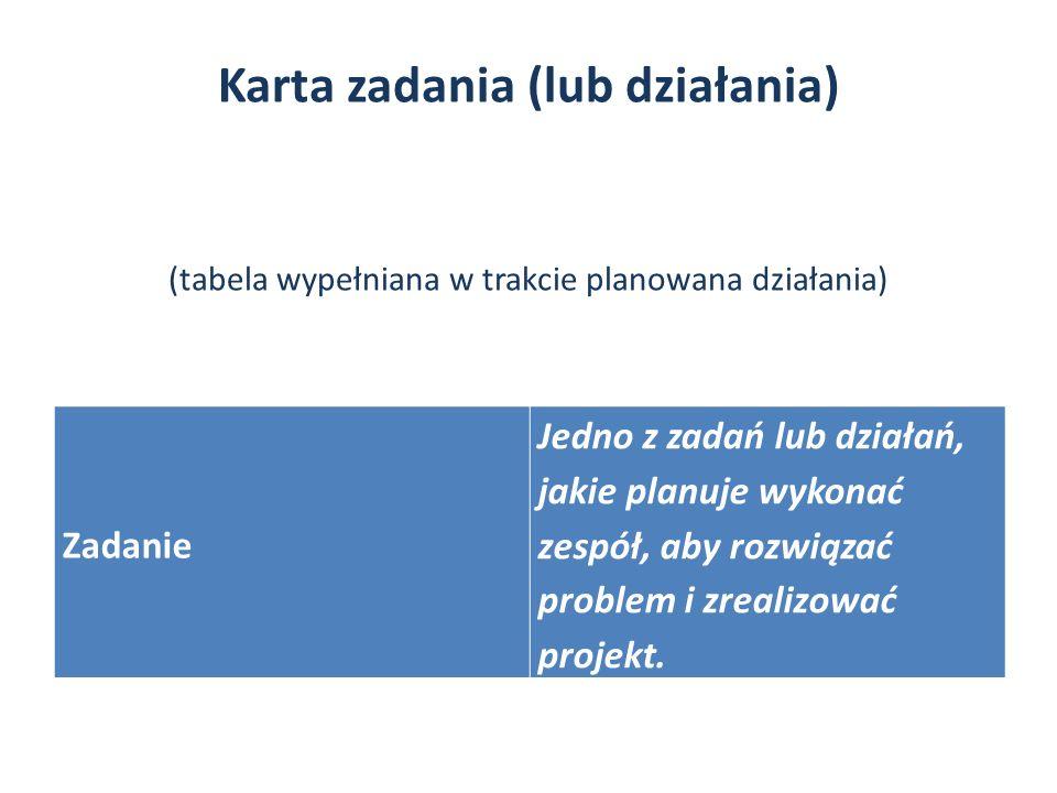 Karta zadania (lub działania) (tabela wypełniana w trakcie planowana działania)