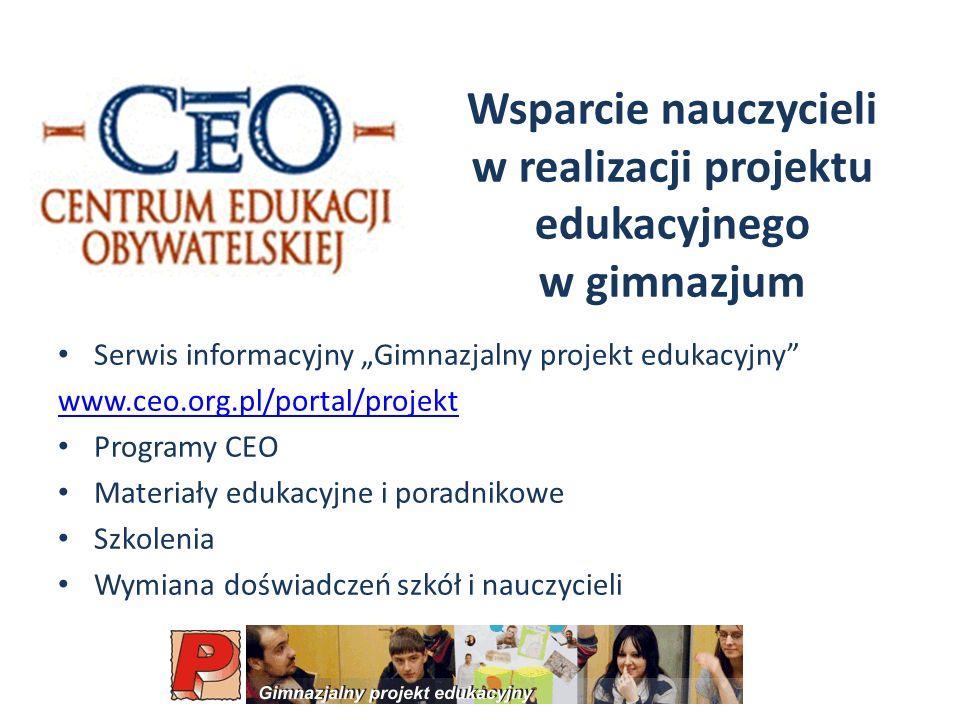 Wsparcie nauczycieli w realizacji projektu edukacyjnego w gimnazjum
