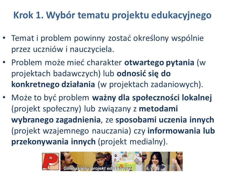 Krok 1. Wybór tematu projektu edukacyjnego