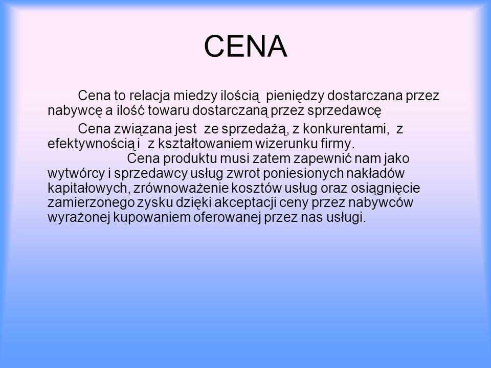 CENA Cena to relacja miedzy ilością pieniędzy dostarczana przez nabywcę a ilość towaru dostarczaną przez sprzedawcę