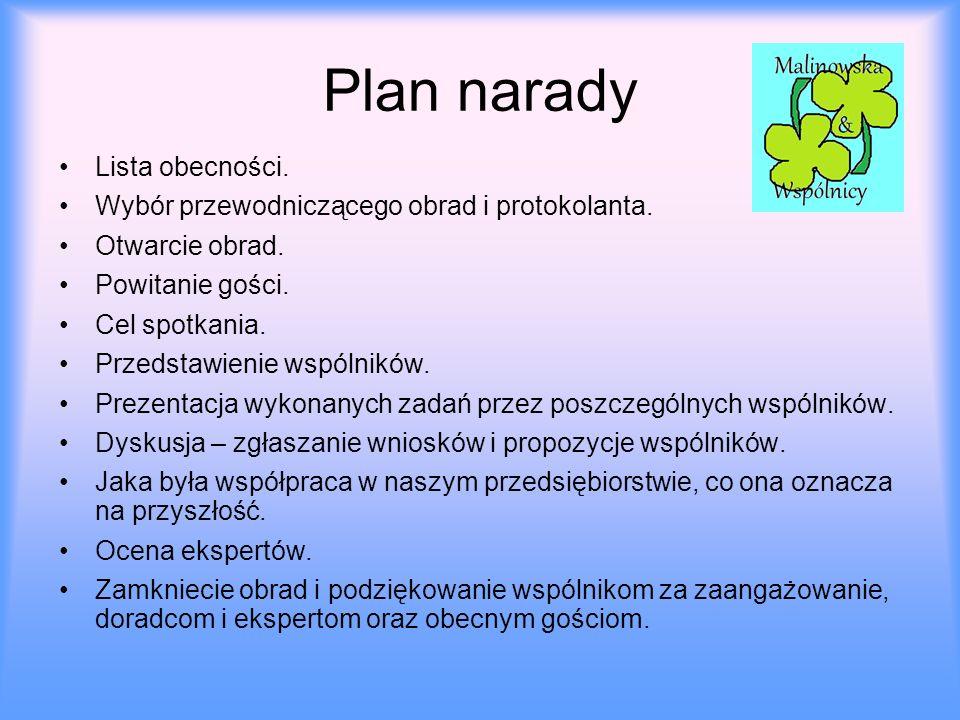 Plan narady Lista obecności.