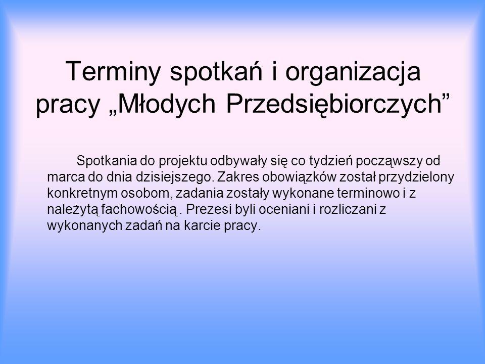 """Terminy spotkań i organizacja pracy """"Młodych Przedsiębiorczych"""