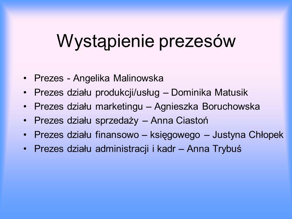 Wystąpienie prezesów Prezes - Angelika Malinowska