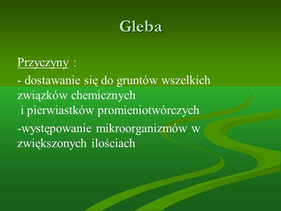 Gleba Przyczyny : - dostawanie się do gruntów wszelkich związków chemicznych i pierwiastków promieniotwórczych.