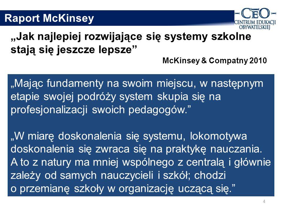 """Raport McKinsey """"Jak najlepiej rozwijające się systemy szkolne stają się jeszcze lepsze McKinsey & Compatny 2010."""