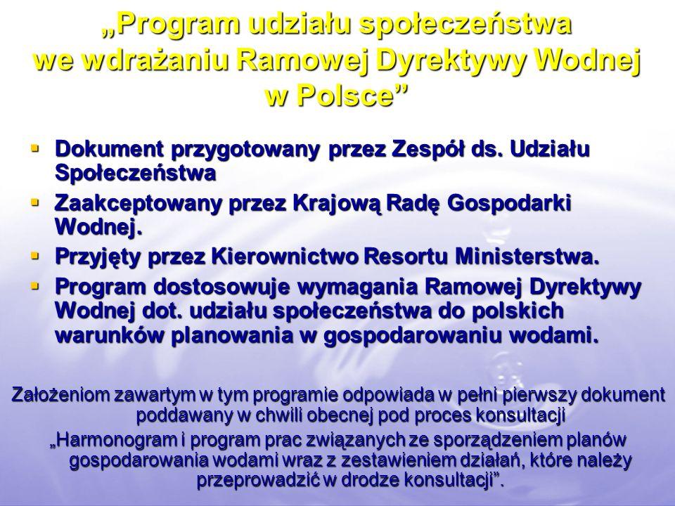 """""""Program udziału społeczeństwa we wdrażaniu Ramowej Dyrektywy Wodnej w Polsce"""