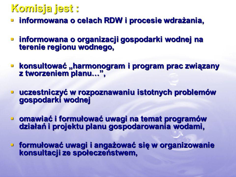 Komisja jest : informowana o celach RDW i procesie wdrażania,