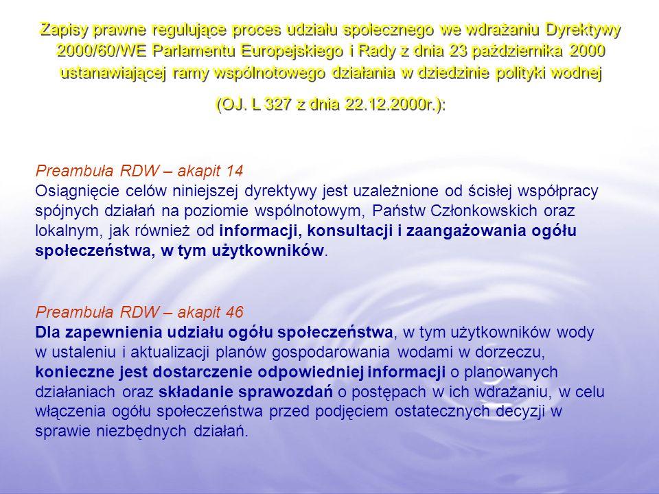 Zapisy prawne regulujące proces udziału społecznego we wdrażaniu Dyrektywy 2000/60/WE Parlamentu Europejskiego i Rady z dnia 23 października 2000 ustanawiającej ramy wspólnotowego działania w dziedzinie polityki wodnej