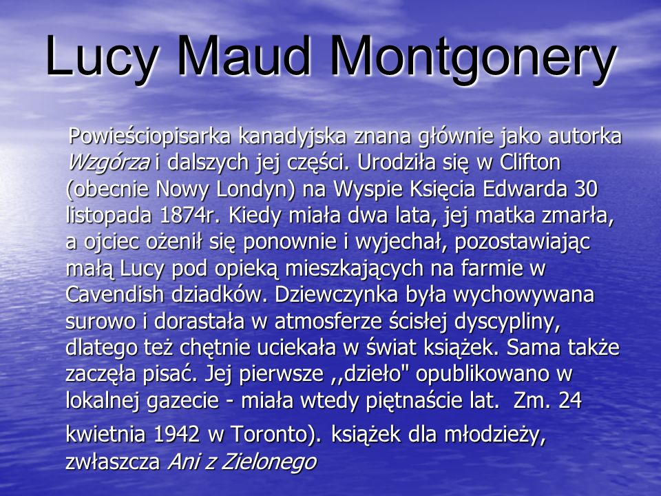 Lucy Maud Montgonery