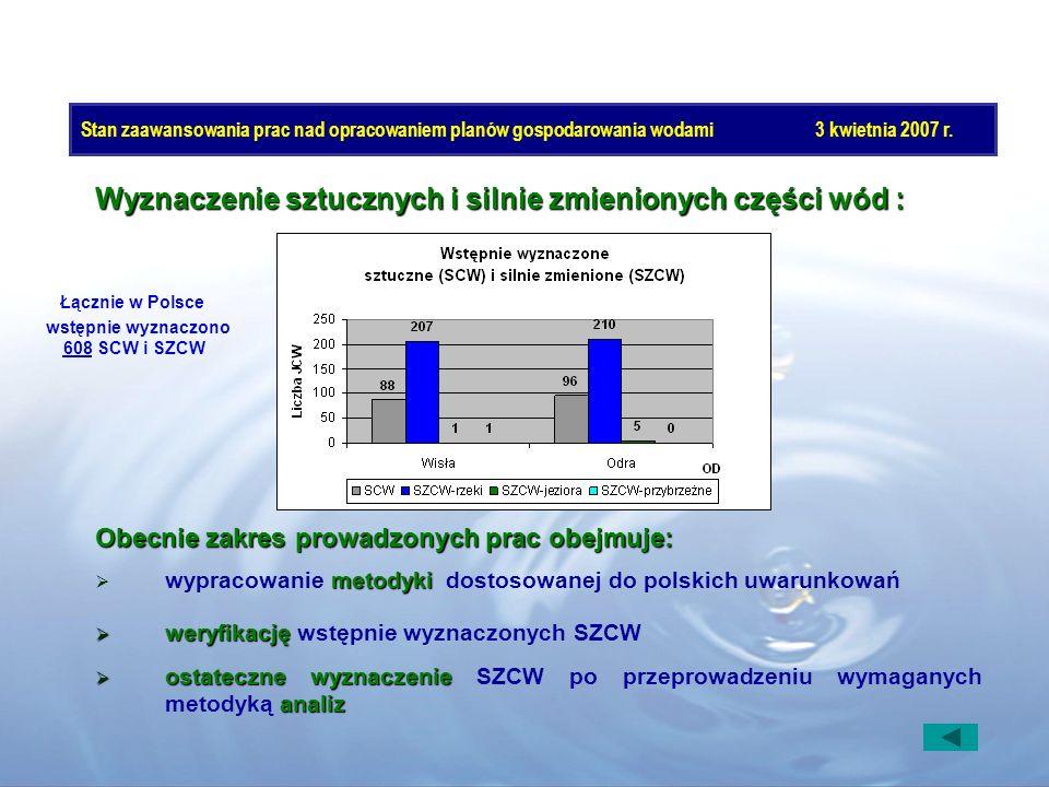 Wyznaczenie sztucznych i silnie zmienionych części wód :