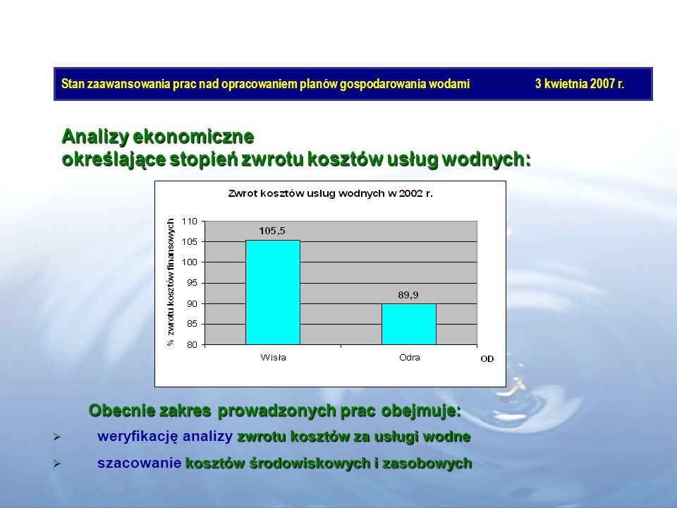 określające stopień zwrotu kosztów usług wodnych: