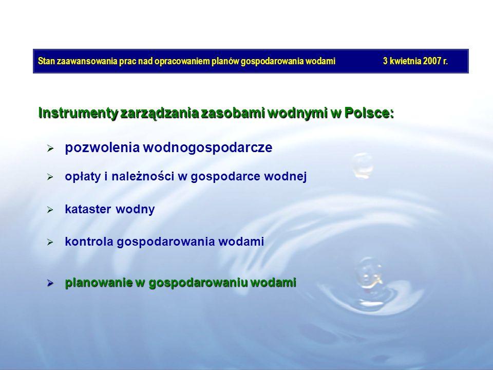 Instrumenty zarządzania zasobami wodnymi w Polsce: