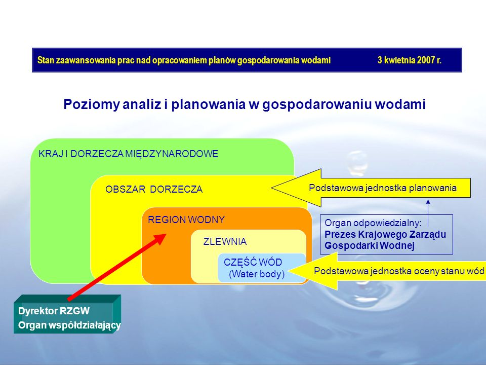 Poziomy analiz i planowania w gospodarowaniu wodami