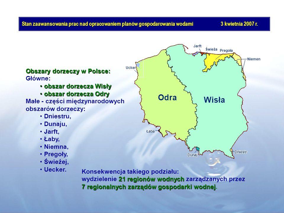 Odra Wisła Obszary dorzeczy w Polsce: Główne: obszar dorzecza Wisły