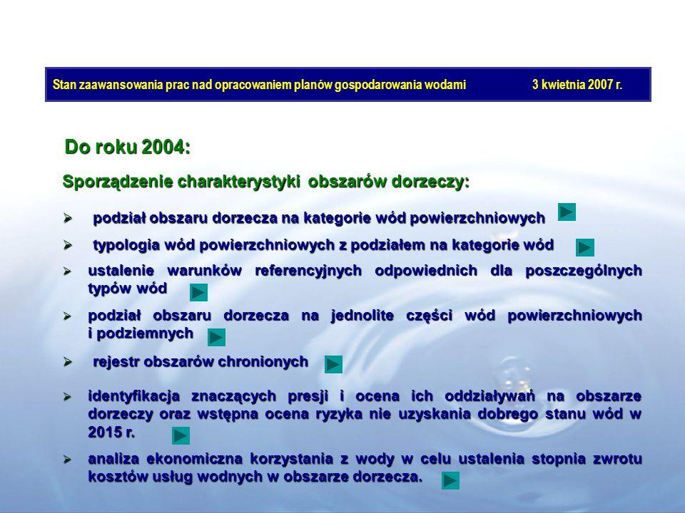 Do roku 2004: Sporządzenie charakterystyki obszarów dorzeczy:
