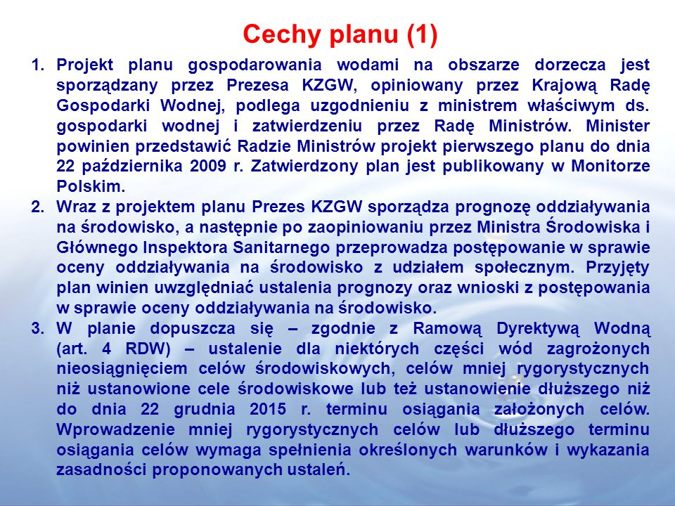 Cechy planu (1)
