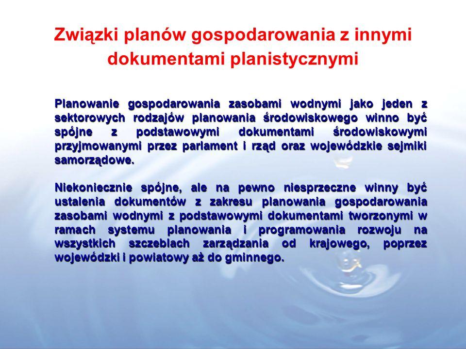 Związki planów gospodarowania z innymi dokumentami planistycznymi