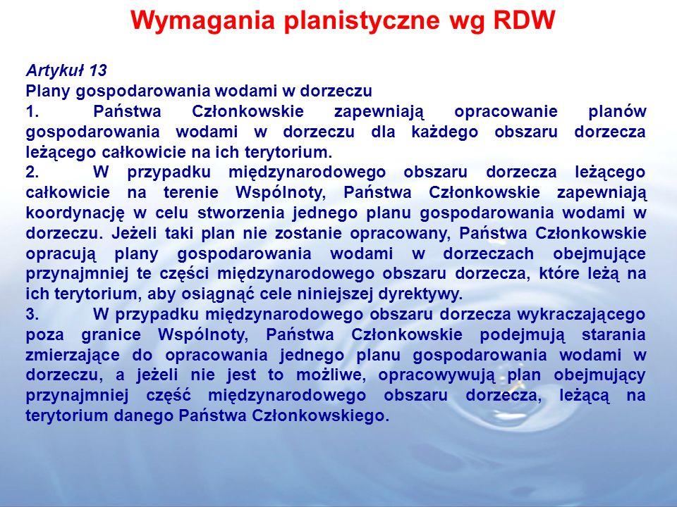 Wymagania planistyczne wg RDW