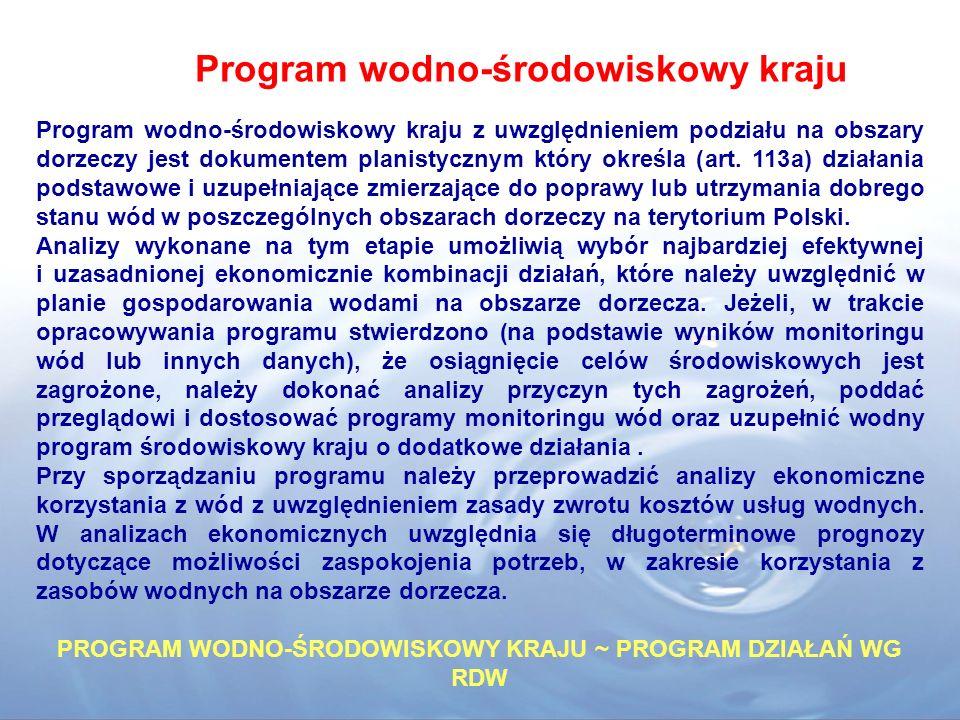 PROGRAM WODNO-ŚRODOWISKOWY KRAJU ~ PROGRAM DZIAŁAŃ WG RDW