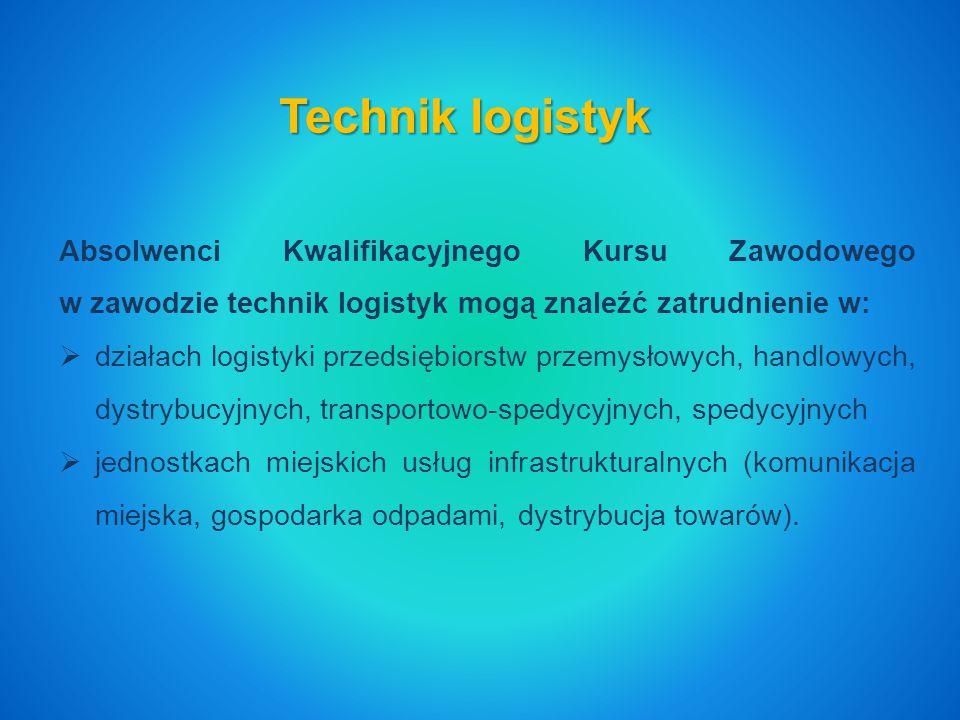 Technik logistyk Absolwenci Kwalifikacyjnego Kursu Zawodowego w zawodzie technik logistyk mogą znaleźć zatrudnienie w: