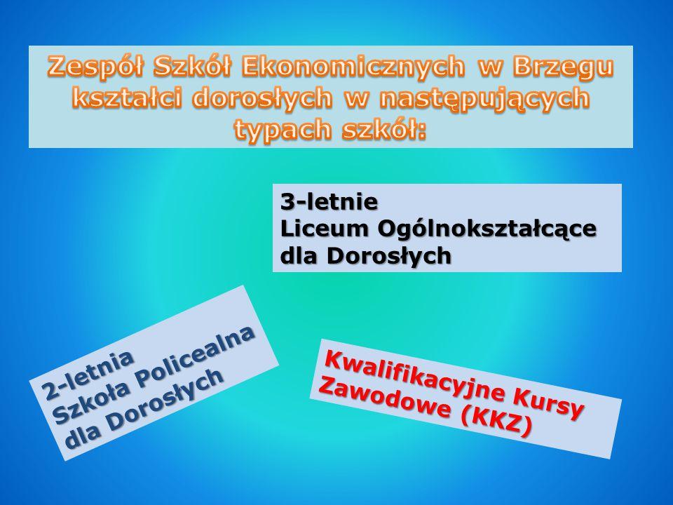 Zespół Szkół Ekonomicznych w Brzegu kształci dorosłych w następujących typach szkół: