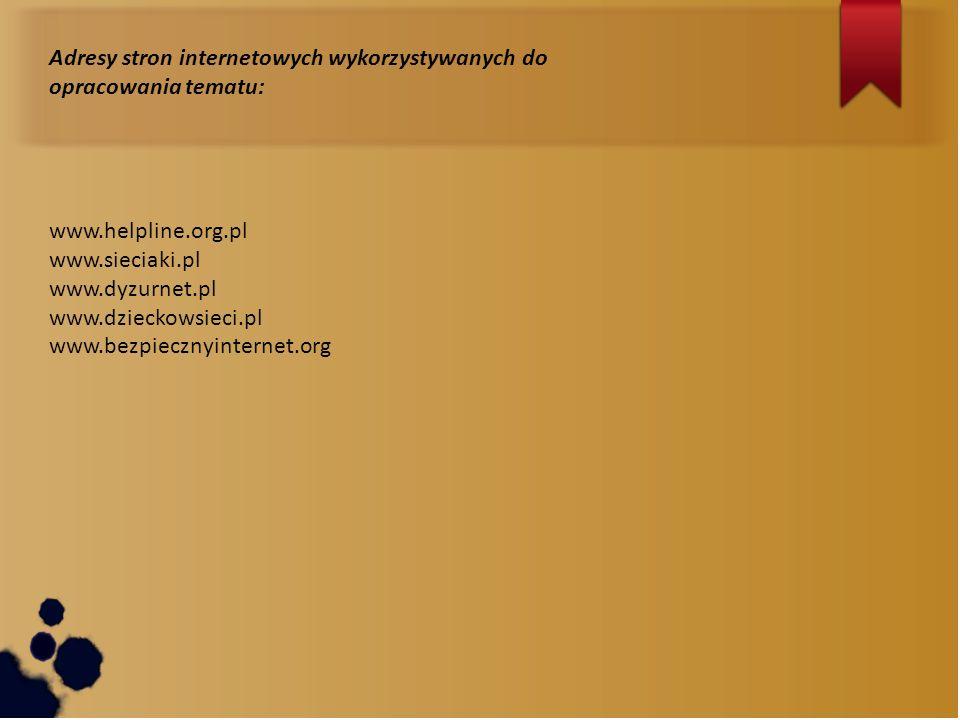 Adresy stron internetowych wykorzystywanych do opracowania tematu: