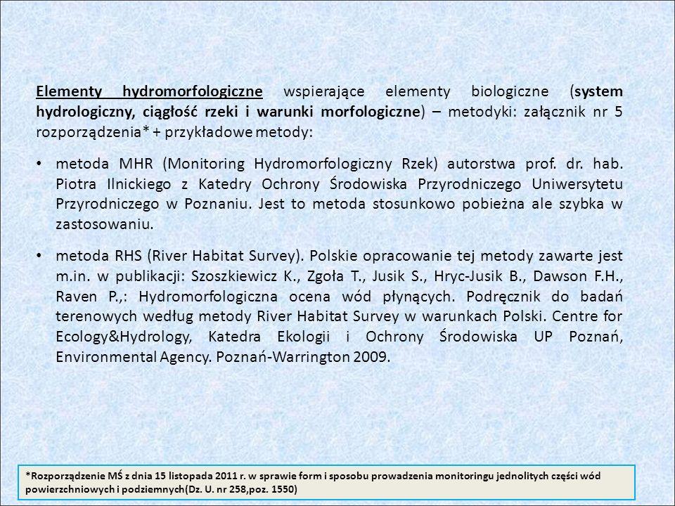 Elementy hydromorfologiczne wspierające elementy biologiczne (system hydrologiczny, ciągłość rzeki i warunki morfologiczne) – metodyki: załącznik nr 5 rozporządzenia* + przykładowe metody: