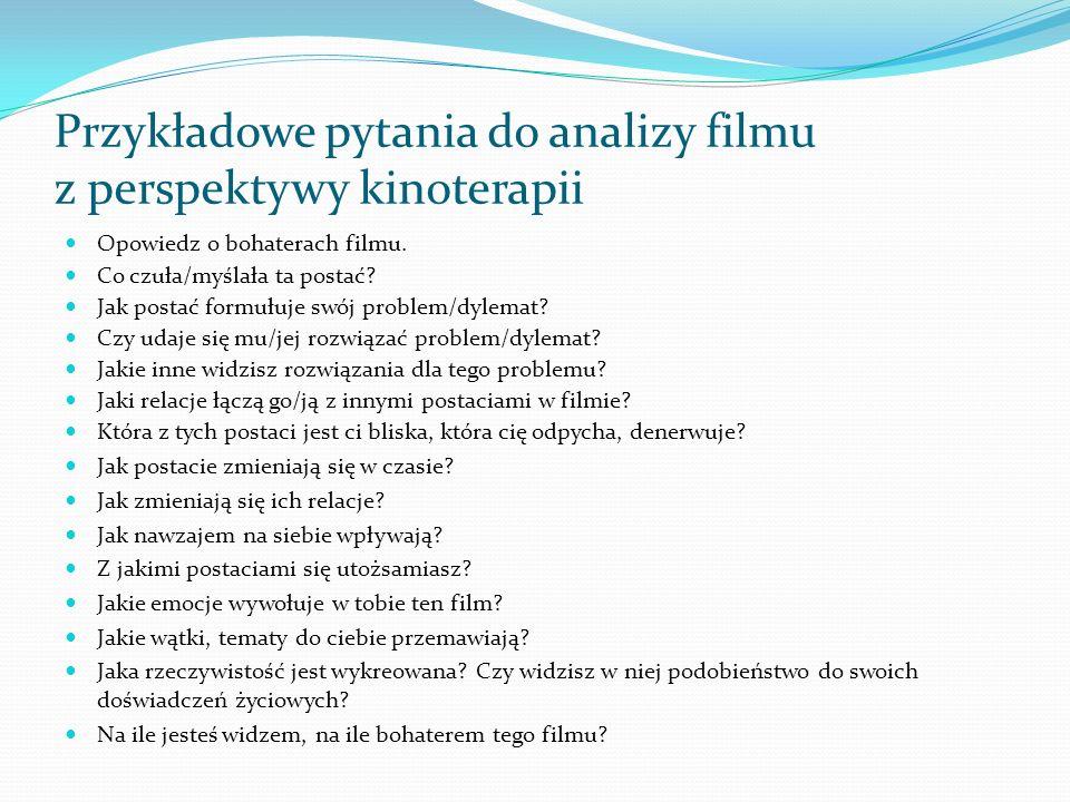 Przykładowe pytania do analizy filmu z perspektywy kinoterapii