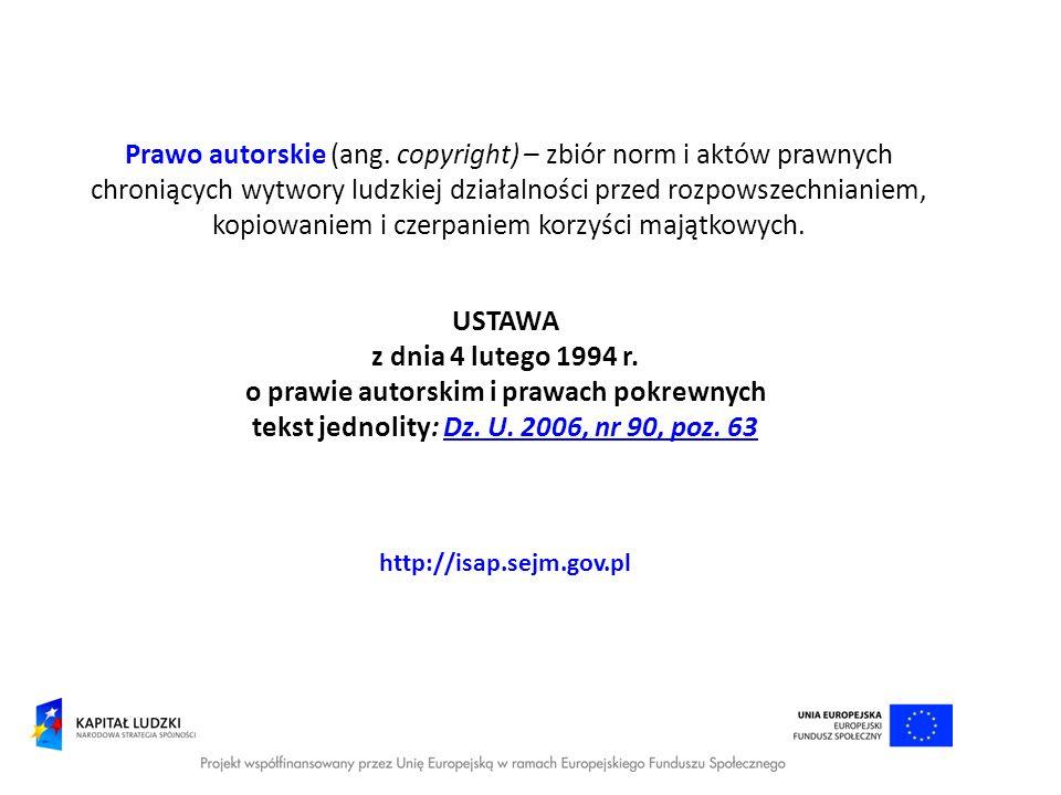 o prawie autorskim i prawach pokrewnych