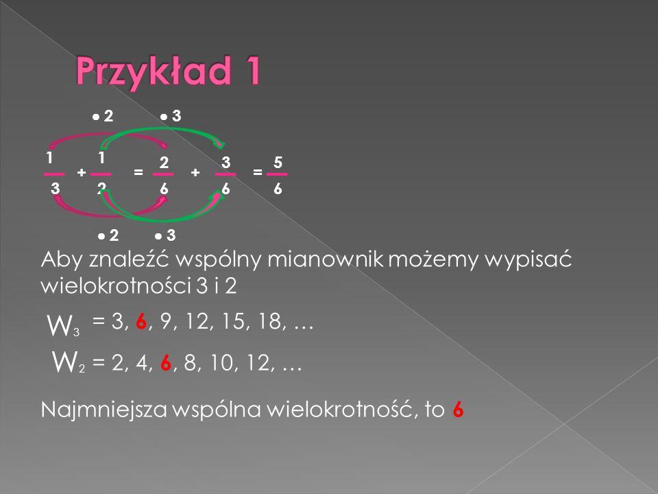 Przykład 1 2.  3. 1. 1. 2. 3. 5. + = + = 3. 2. 6. 6. 6.  2.  3. Aby znaleźć wspólny mianownik możemy wypisać wielokrotności 3 i 2.