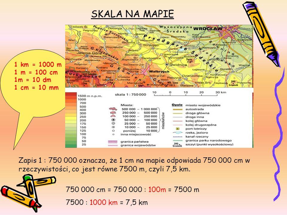 SKALA NA MAPIE1 km = 1000 m. 1 m = 100 cm. 1m = 10 dm. 1 cm = 10 mm. 1 : 750 000.