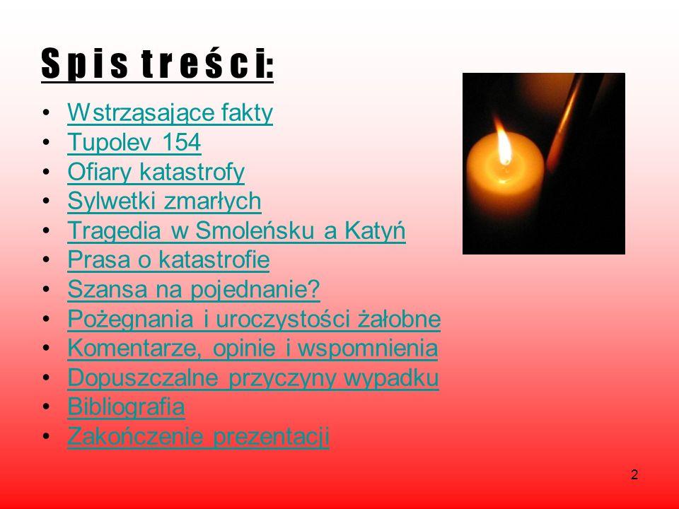 S p i s t r e ś c i: Wstrząsające fakty Tupolev 154 Ofiary katastrofy