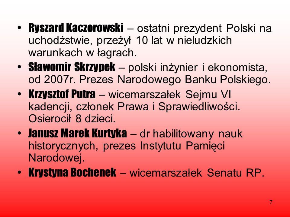 Ryszard Kaczorowski – ostatni prezydent Polski na uchodźstwie, przeżył 10 lat w nieludzkich warunkach w łagrach.