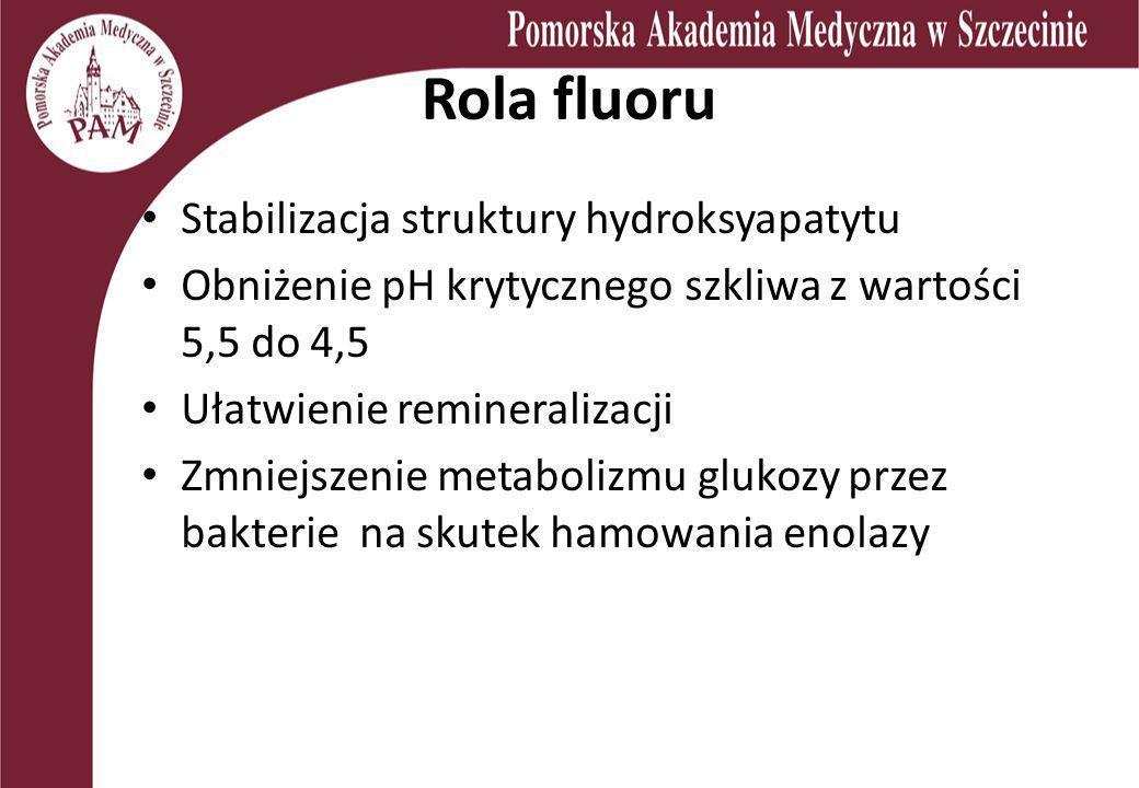 Rola fluoru Stabilizacja struktury hydroksyapatytu