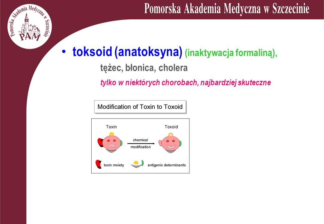toksoid (anatoksyna) (inaktywacja formaliną),