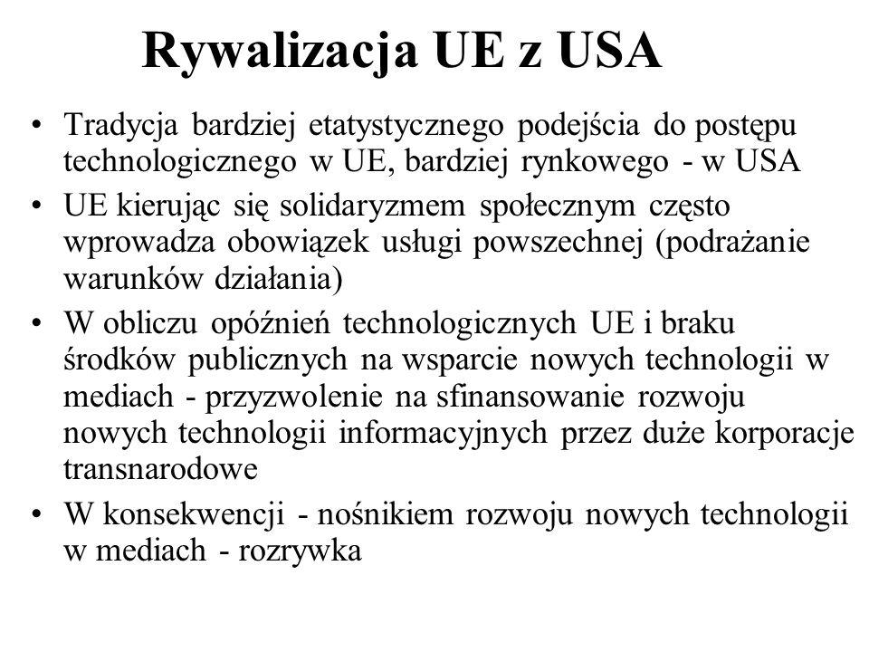 Rywalizacja UE z USA Tradycja bardziej etatystycznego podejścia do postępu technologicznego w UE, bardziej rynkowego - w USA.