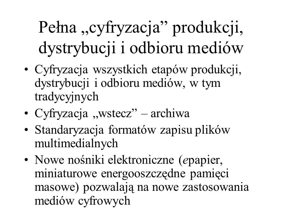 """Pełna """"cyfryzacja produkcji, dystrybucji i odbioru mediów"""