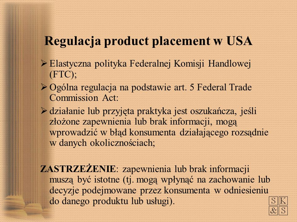 Regulacja product placement w USA