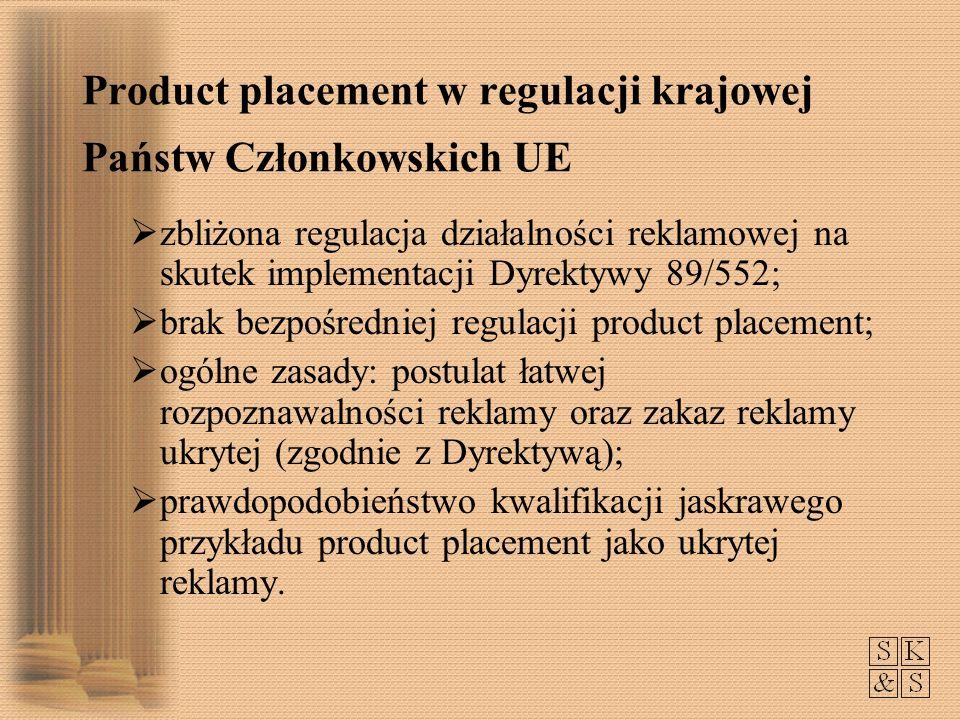 Product placement w regulacji krajowej Państw Członkowskich UE