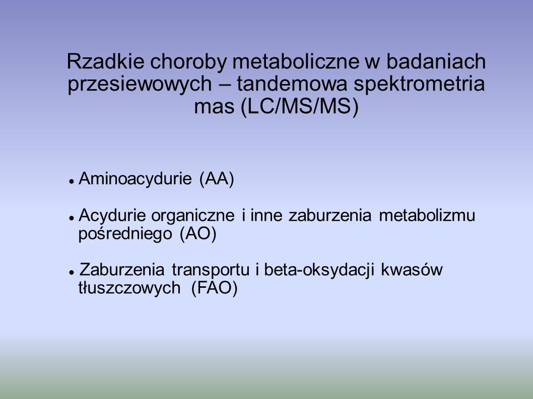 Rzadkie choroby metaboliczne w badaniach przesiewowych – tandemowa spektrometria mas (LC/MS/MS)