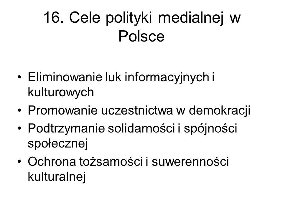 16. Cele polityki medialnej w Polsce